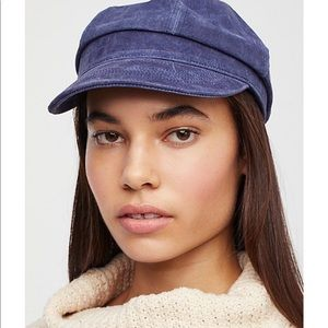 FREE PEOPLE X UNDERSTATED LEATHER BLUE HAT NEW